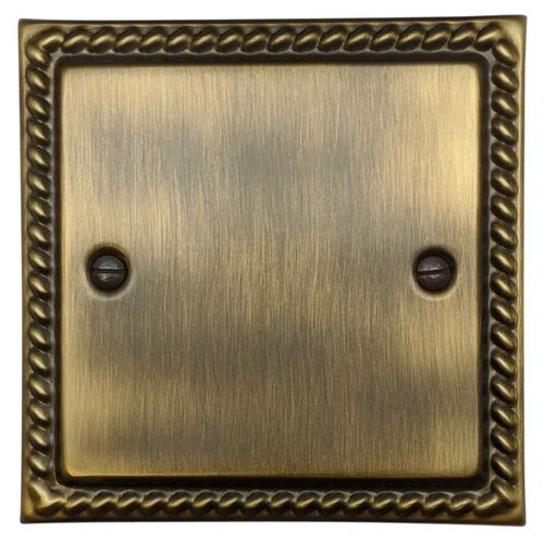 G&H MAB31 Monarch Roped Antique Bronze 1 Gang Single Blank Plate